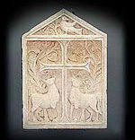 Relief showing symbolical image of Eucharistia with Cross and Lambs found in Ubli from the 5th or 6th century