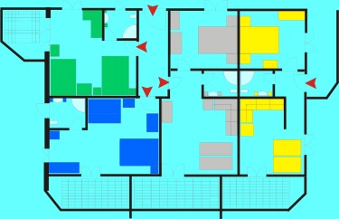 Plan of the apartment - 4 colors
